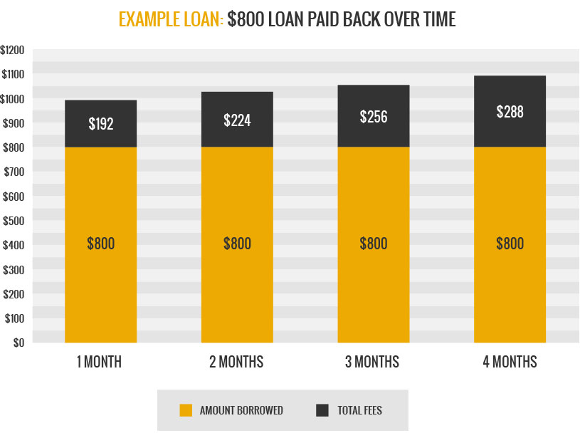 800 dollar loan over time graph